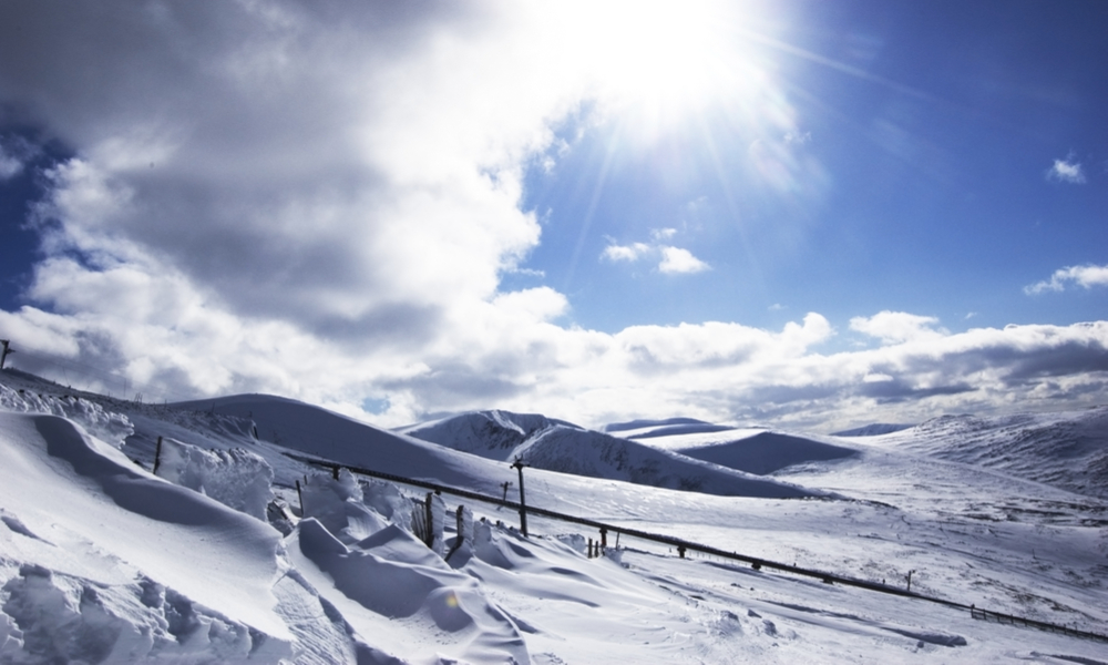 Cairngorm mountain on a sunny day with fresh snow